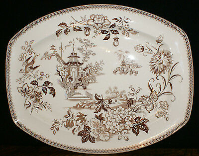 """1883 Brownfield and Sons England Ning Po Pattern * 17 3/4"""" X 14"""" Serving Platter"""