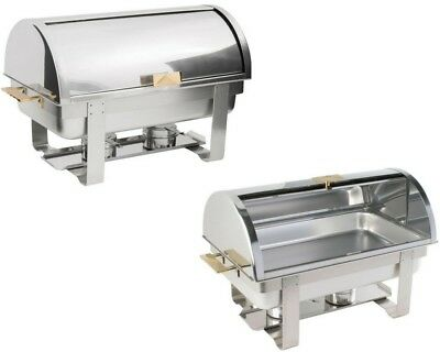 2X Roll Top Chafers Chafing Dishes Stainless Steel 8 Qt Full Size Buffet Deluxe