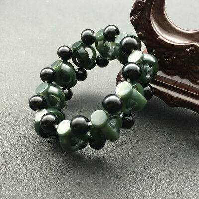 Chinese Hand Carved jade Hollow head Bead Natural  Hetian jade  Bracelet