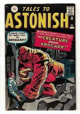 Tales To astonish atlas Marvel comics 25  VGF 5.0 1962  Creature of Krogarr