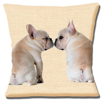 "Two Fawn French Bulldogs 16""x16"" 40cm Cushion Cover Two Dogs Kissing Photo Print"