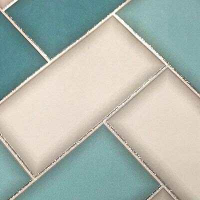 Holden Decor Chevron Tile Kitchen Bathroom Wallpaper Grey/Teal 89301