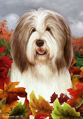 Large Indoor/Outdoor Fall Flag - Brown & White Bearded Collie 13482