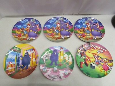 "Lot of 6 McDONALD'S PLASTIC PLATES  9"" & 9.5""  Mfg. 1989-2002"