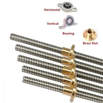 T10X10 Lead Screw Picth 2mm Lead 10mm Trapezoidal Rod for 3D Printer + Brass Nut