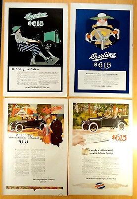 4 Ads from 1916 WILLYS-OVERLAND Co Automobiles 2 Coles Phillips Fadeaway Girl