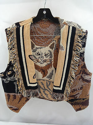 Cat Vest Sweater Made from Blanket Womens M L Vintage Hand Made