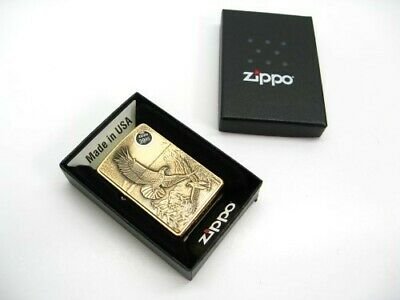 ZIPPO Brushed BRASS Full Face EAGLE Emblem Classic Windproof Lighter! 20854