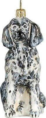English Setter Dog Polish Blown Glass Christmas Ornament Decoration Made Poland
