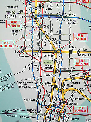 Subway Map From 14th To Chambers.1948 Nyc New York Subway Elevated Map Hagstrom Bmt Brooklyn Ebbets Field Nice