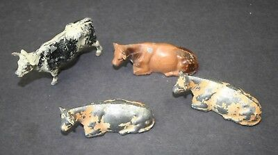 4 Vintage Cast Metal (Lead) Figurines Cows, Paint Loss ...............