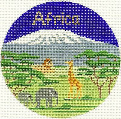 """AFRICA Kilimanjaro handpainted 4.25"""" Rd. Needlepoint Ornament by Silver Needle"""