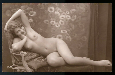 Nude French RPPC Real Photo Postcard Impish Flapper Jazz Baby Reclining c. 1920s