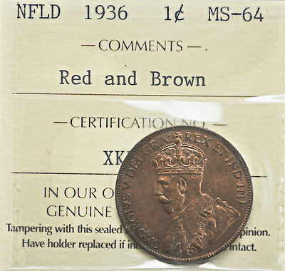 1936 Newfoundland One Cent ICCS graded MS-64 rb