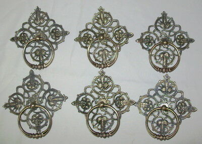 6 Vintage BRASS RING Drawer Pulls With Backing Plates w/Screws KBC Keeler