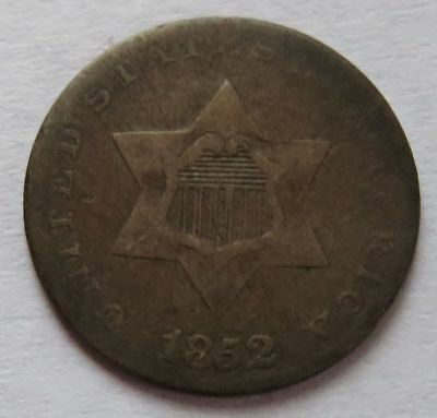 1852 Three Cent Silver piece, Vintage Better Date 3CS coin (091751B)