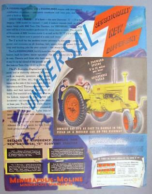 Original 1937 Minneapolis Moline Ad DECADES EXPERIENCE PRODUCED UNIVERSAL Z