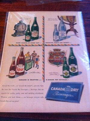 Vintage 1948 Canada Dry Beverages Every Minute Of The Day Print Art ad