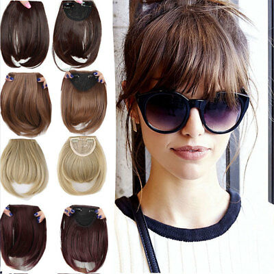 100% Clip In Women For Human Hair Neat Bangs Front Fringe Hair Extensions ssm2