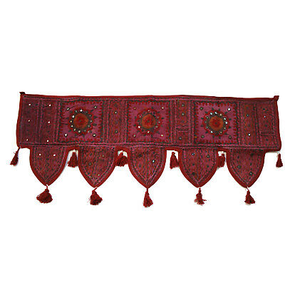Door Hanging Toran thorang Patchwork Burgundy Wall Hanging Tapestry Bollywood Z