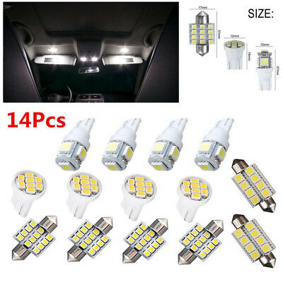 14Pcs LED Interior Package Kit Fit T10&31mm Map Dome License Plate Lights White