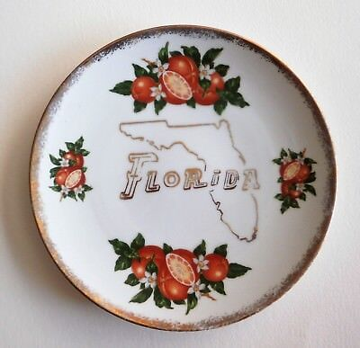 Vintage Florida Souvenir State Plate Map With Oranges & Blossoms