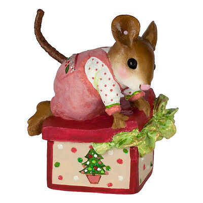 OVERSTUFFED by Wee Forest Folk, WFF# M-598a, PINK, Retired Christmas Mouse