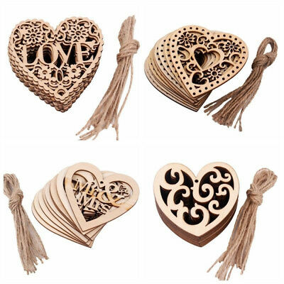 10pcs Rustic Wooden Love Heart Wedding Table Scatter Decoration Wood Crafts