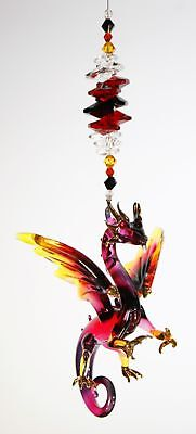 🌈jll GLASS DRAGON CRYSTAL SUNCATCHER figurine red black window hanging gift