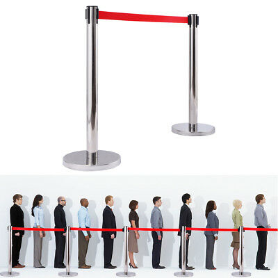 2PCS Silver Stanchion with Red Velvet Rope Post Crowd Control Queue Pole Barrier