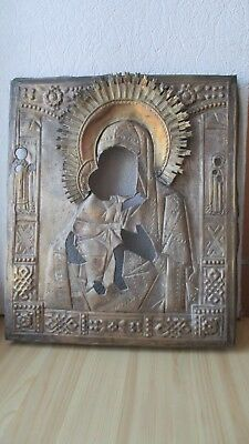 Antique Russian Orthodox brass icon riza,,Theotokos,, from 19c.