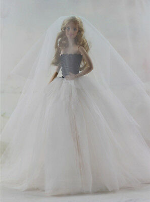Fashion Handmade Princess Dress Wedding Clothes Gown for Barbie Doll D03