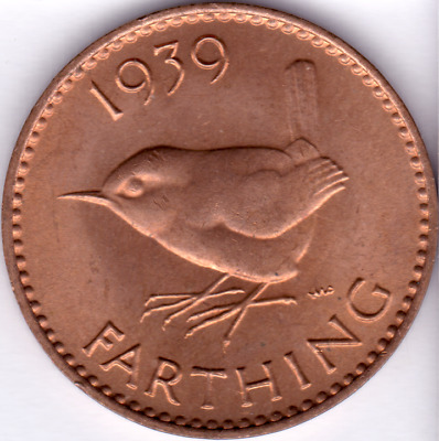 1939 Uncirculated Farthing George VI Predecimal Coin
