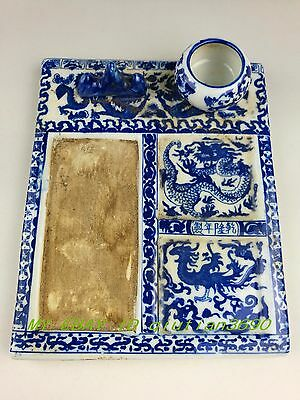 Antique style Chinese Unique style Blue and white porcelain inkstone