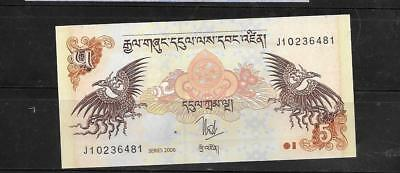 BHUTAN #28a 2006 5 NGUTRUM NEW MINT CRISP BANKNOTE BILL CURRENCY PAPER MONEY