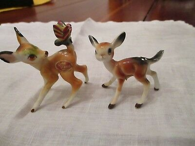 2 vintage bone china fawn deer bambi figurines Japan stickers in place