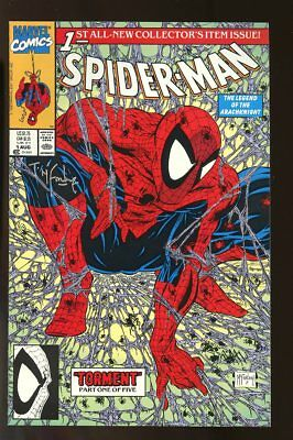 Spider-Man #1 Near Mint Green Cover 1990 Signed By Todd Mcfarlane