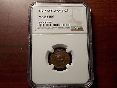 1867 Norway 1/2 skilling coin NGC MS-63 BN