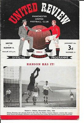 1950/51 MAN MANCHESTER UNITED v OLDHAM ATHLETIC 7 JANUARY 1951 F A CUP 3rd ROUND