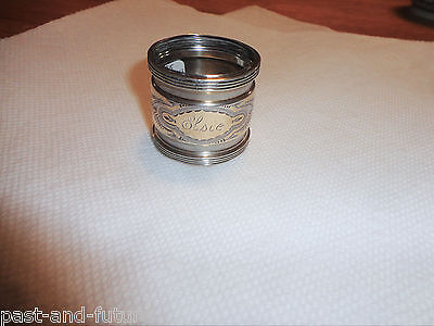 Early Gorham Sterling Napkin Ring Engraved Elsie,  Parcel Gilt In Center Ring