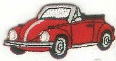 "2.5/"" Red Beetle Car Vehicle Facing Left Embroidery Patch"