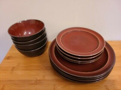 LINDEN STREET Plate Cup Bowl HEARTHRIDGE RED 4pc Set Discontinued 2009