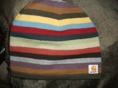 Carhartt Kid's Beanie Hat in Multi Colored Striped Pattern