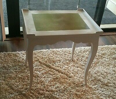 Vintage White & Gold French Country Wood Side End Table Night Stand Provincial