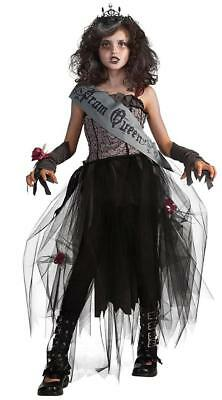 Gothic Prom Queen Zombie Girl Scary Fancy Dress Up Halloween Child Costume