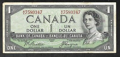 Canada - One Dollar - 1954 (Devils Face in Hair) FINE+