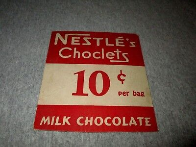NESTLE'S CHOCLETS MILK CHOCOLATE-10 CENTS FOR BAG-1940s ERA SMALL STORE SIGN