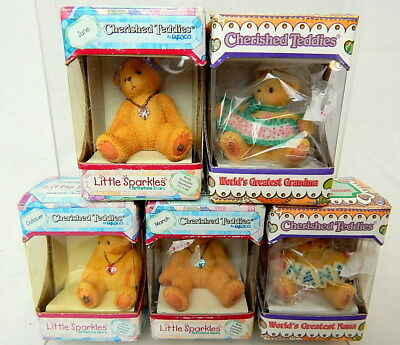 Set Of Enesco Cherished Teddies Little Sparkles Bears 5 Different Boxed Cute!