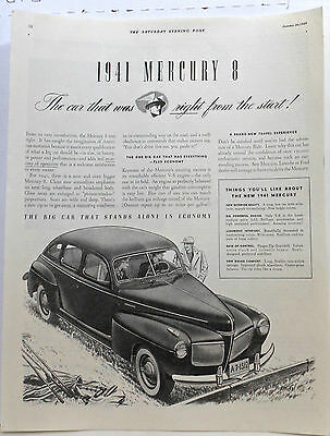 1940 magazine ad for Mercury - 1941 Mercury 8, Big Car Stands Alone in Economy