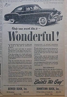 Vintage 1949 newspaper ad for Buick - One Word Fits It - Wonderful!
